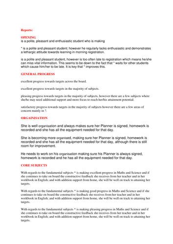Tutoring Progress Report Template form Tutor Report Statement by Scottie34