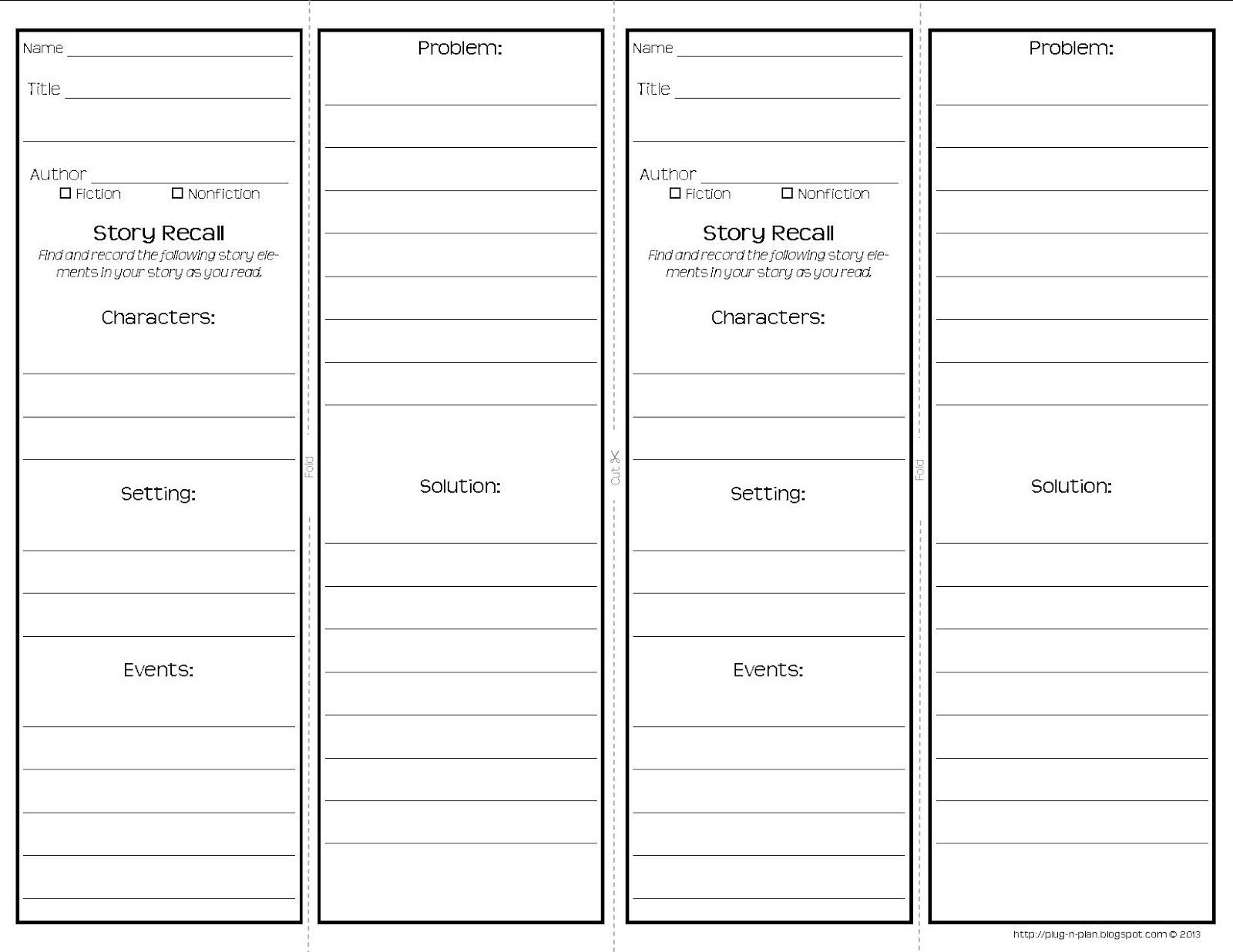 Two Sided Bookmark Template Plug N Plan Mon Core Reading Response Bookmarks