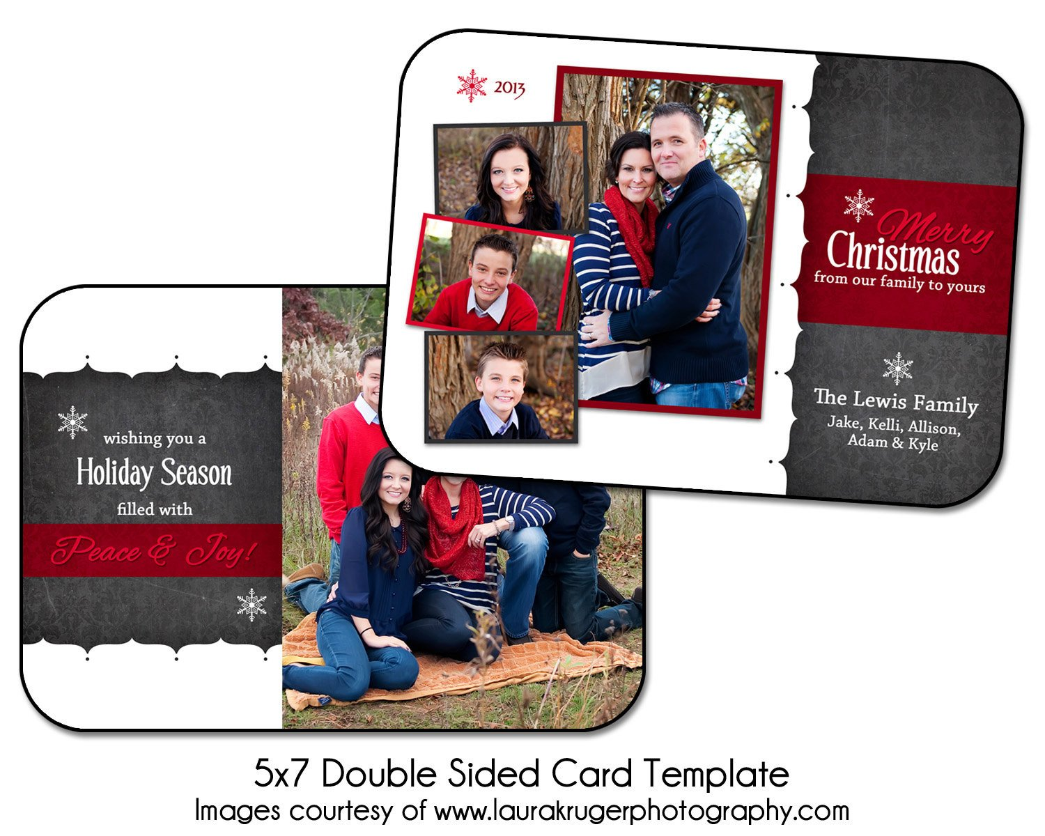 Two Sided Postcard Template Christmas Card Template Holiday Chalk 5x7 Double Sided
