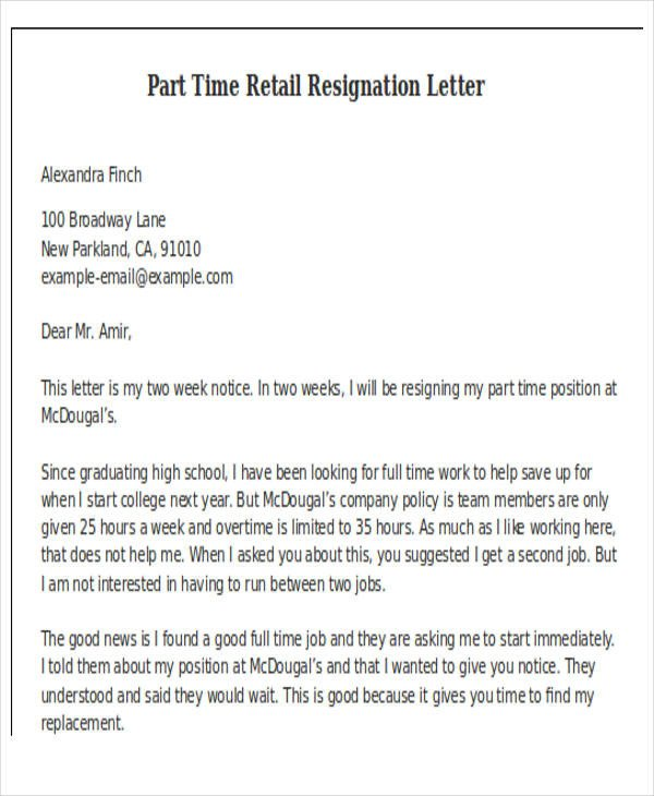 Two Weeks Notice Retail 11 Retail Resignation Letter Template Free Word Pdf