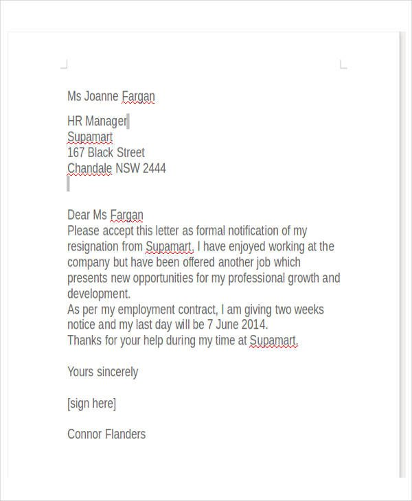 Two Weeks Notice Retail 34 Free Resignation Letter Templates Pdf Doc