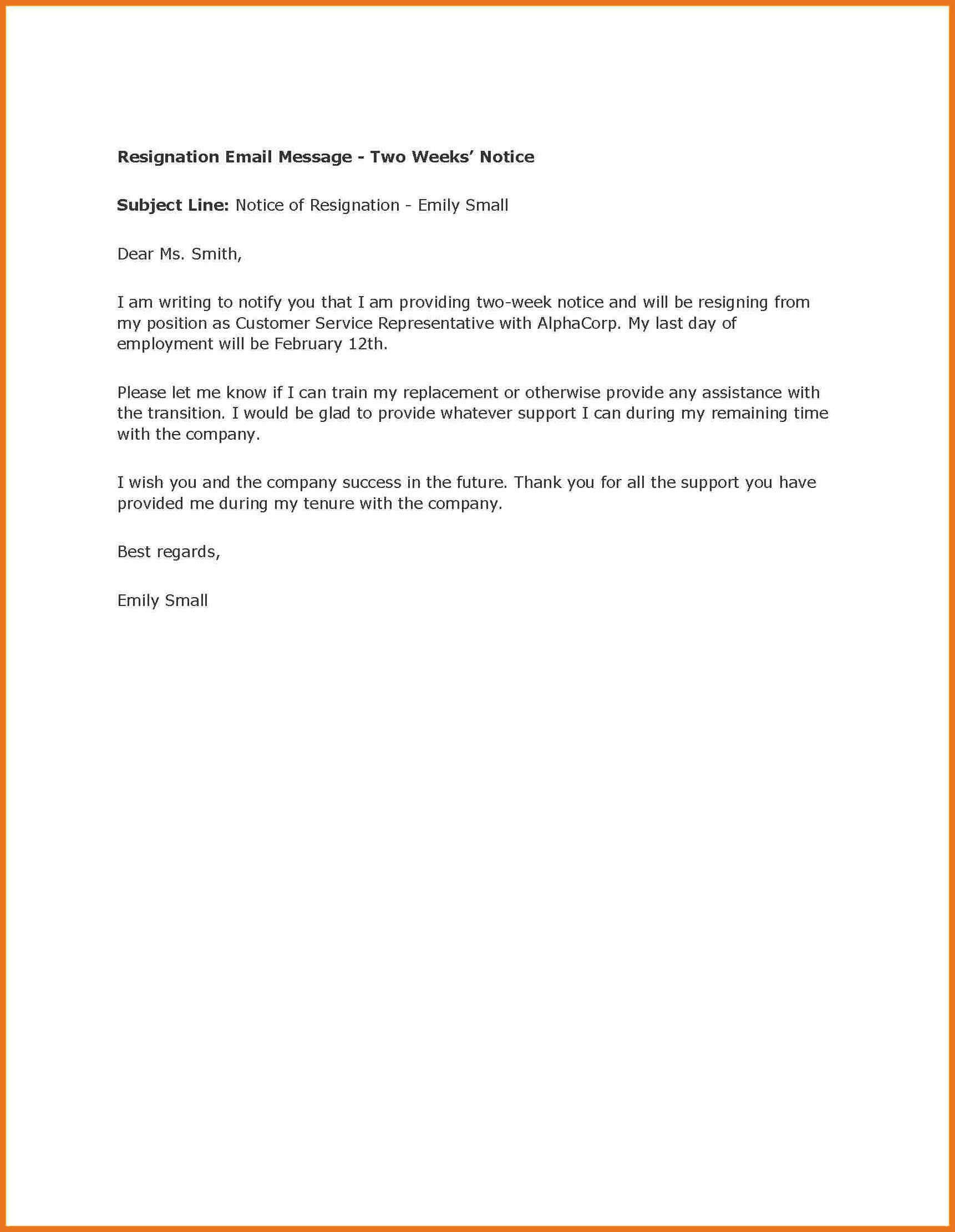 Two Weeks Notice Retail 6 7 Two Weeks Notice Letter Retail