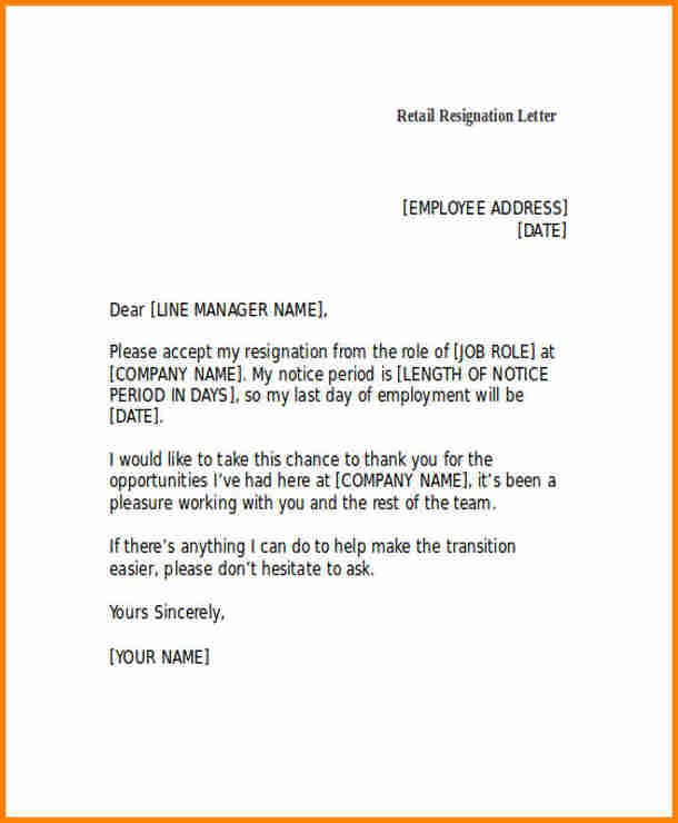 Two Weeks Notice Retail 6 Resignation Letter Retail