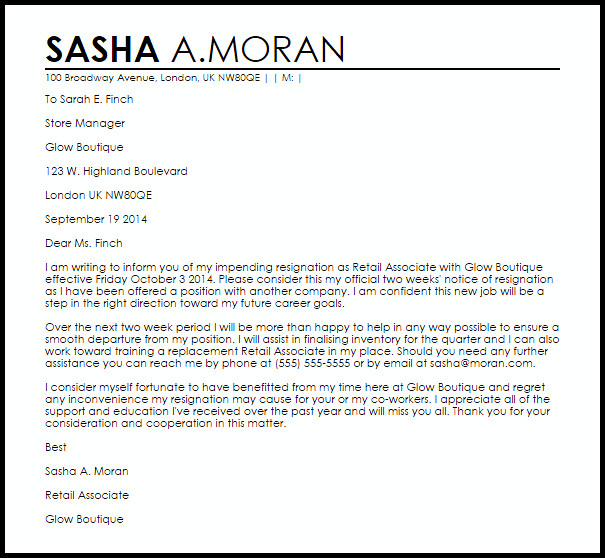 Two Weeks Notice Retail Retail Resignation Letter Example