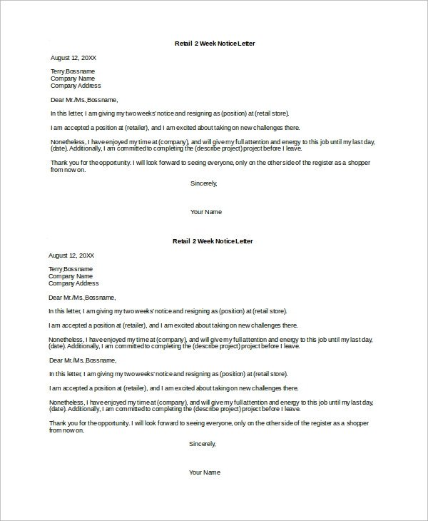 Two Weeks Notice Retail Sample 2 Week Notice Letter 8 Examples In Word Pdf