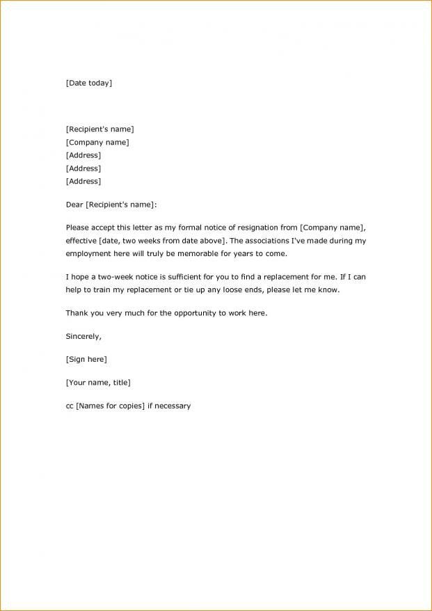 Two Weeks Notice Retail Simple Two Week Notice Letter