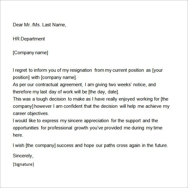 Two Weeks Notice Retail Two Weeks Notice Letter 12 Download Free Documents In Word