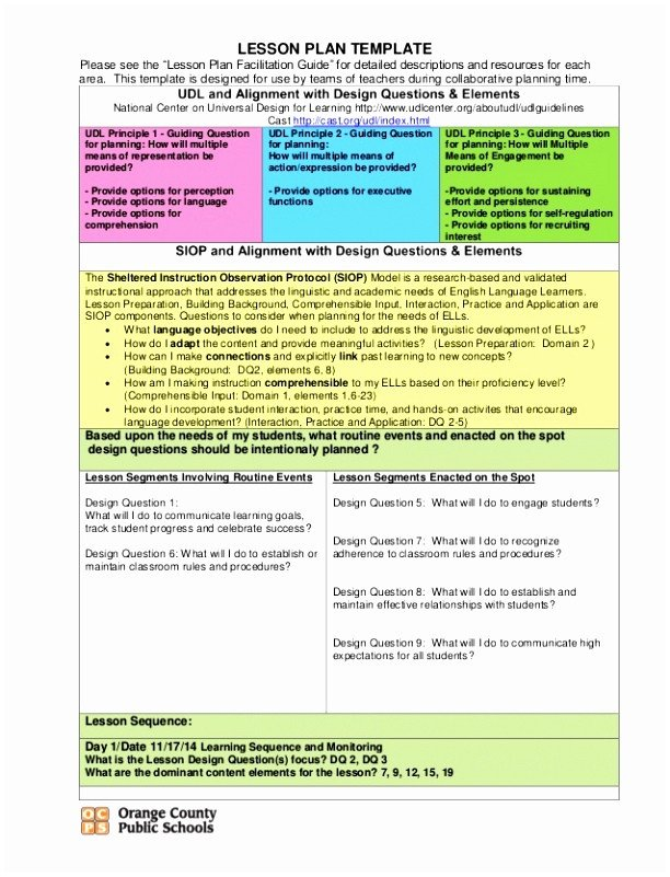 Udl Lesson Plan Template 5 Universal Design for Learning Lesson Plan Template Uorti