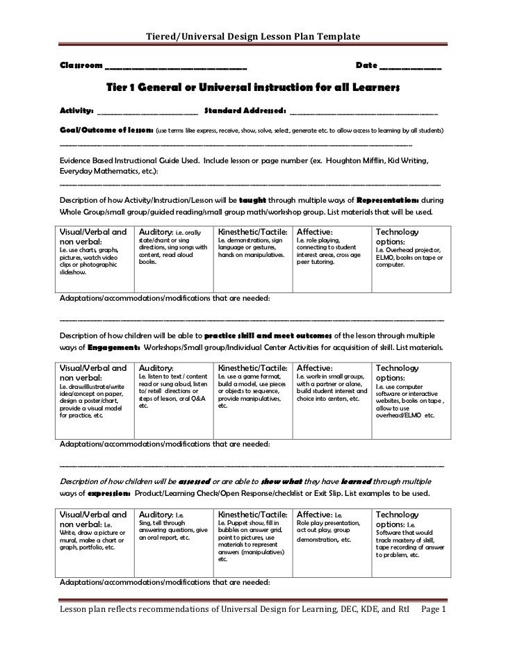 Udl Lesson Plan Template Tiered Lesson Plan Template