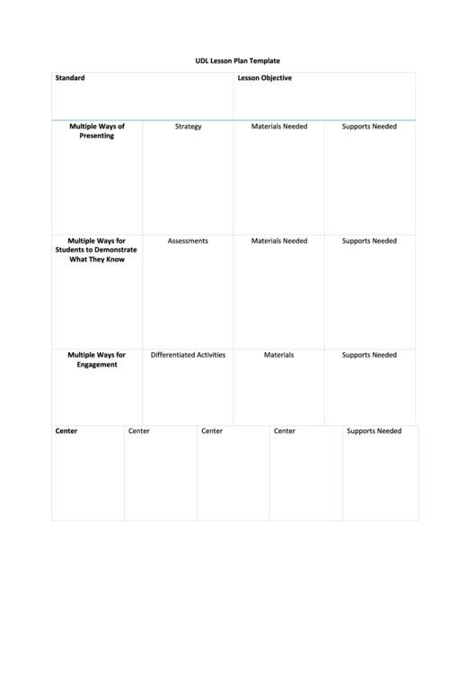 Udl Lesson Plan Template printable pdf