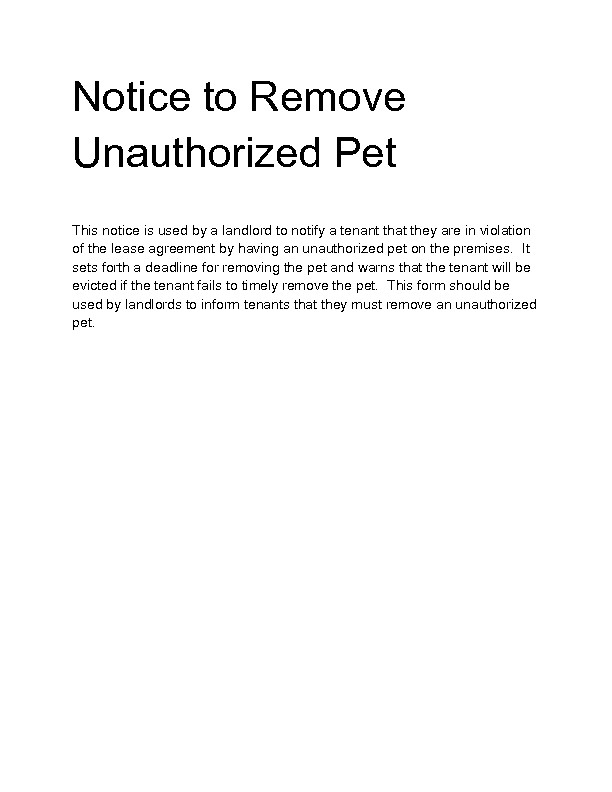 Unauthorized Tenant Letter Template Wel E to Docs 4 Sale
