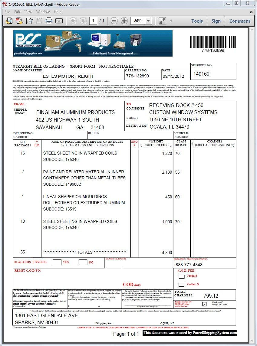 Ups Straight Bill Of Lading Fedex Motor Freight Bill Lading Impremedia