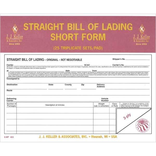 Ups Straight Bill Of Lading Straight Bill Lading Short form