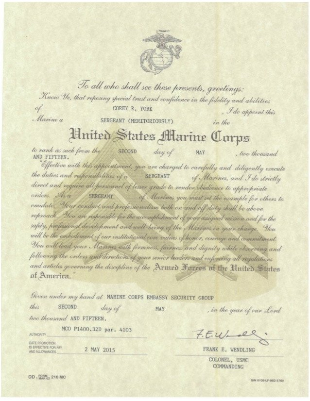 Usmc Promotion Warrant Template Meritorious Promotion Warrant