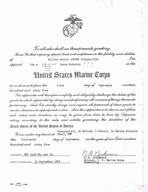 Usmc Promotion Warrant Template Promotion Promotion Warrant