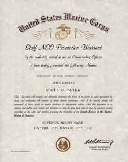 Usmc Promotion Warrant Template United States Marine Corps Snco Promotion Warrant