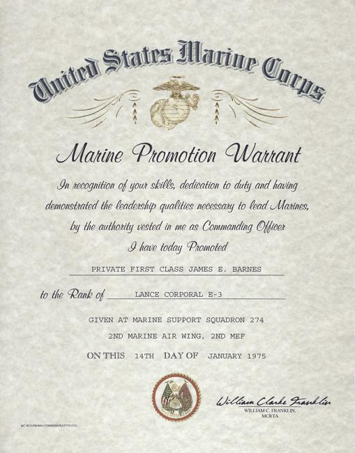 Usmc Promotion Warrant Template Usmc E 2 E 3 Enlisted Promotion Warrant