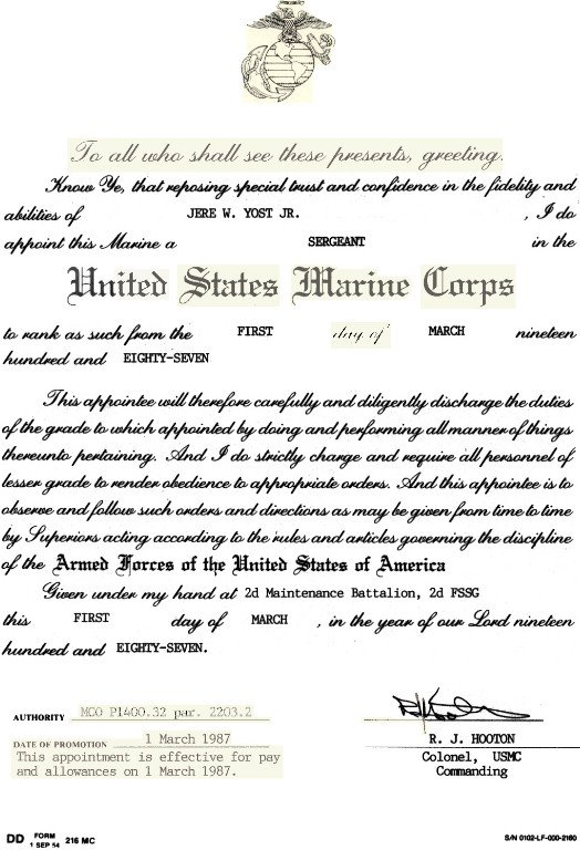 Usmc Promotion Warrant Template Usmc