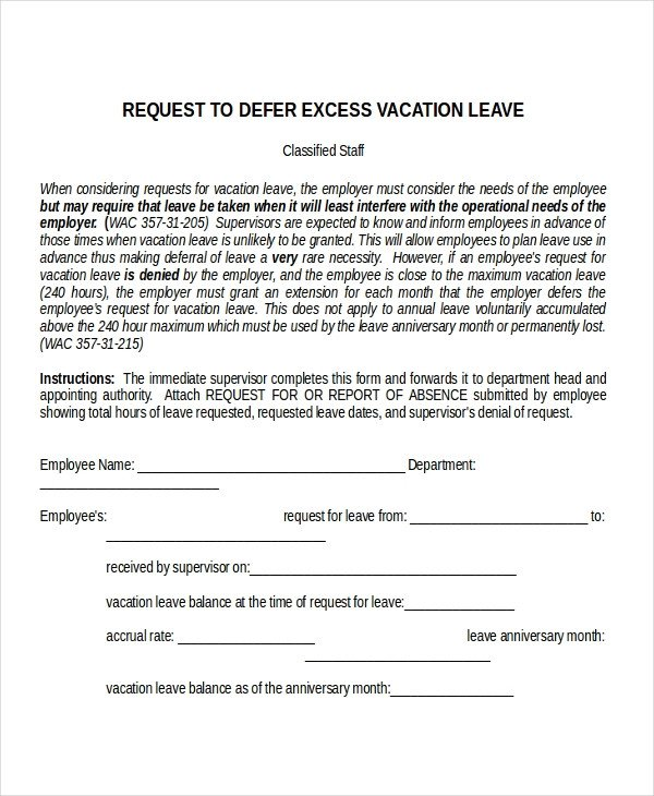 Vacation Leave Letter Sample 25 Leave Letter Templates Pdf Doc