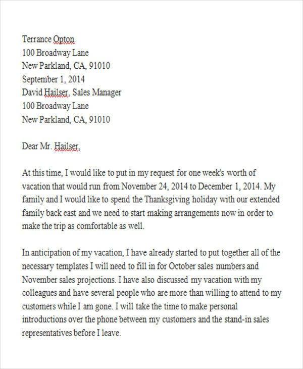 Vacation Leave Letter Sample 42 Leave Letter Samples Pdf Word Apple Pages