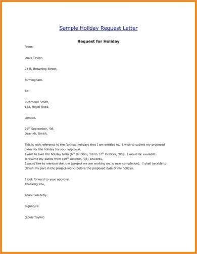 Vacation Leave Letter Sample 9 Ficial Letter for Leave Examples Pdf