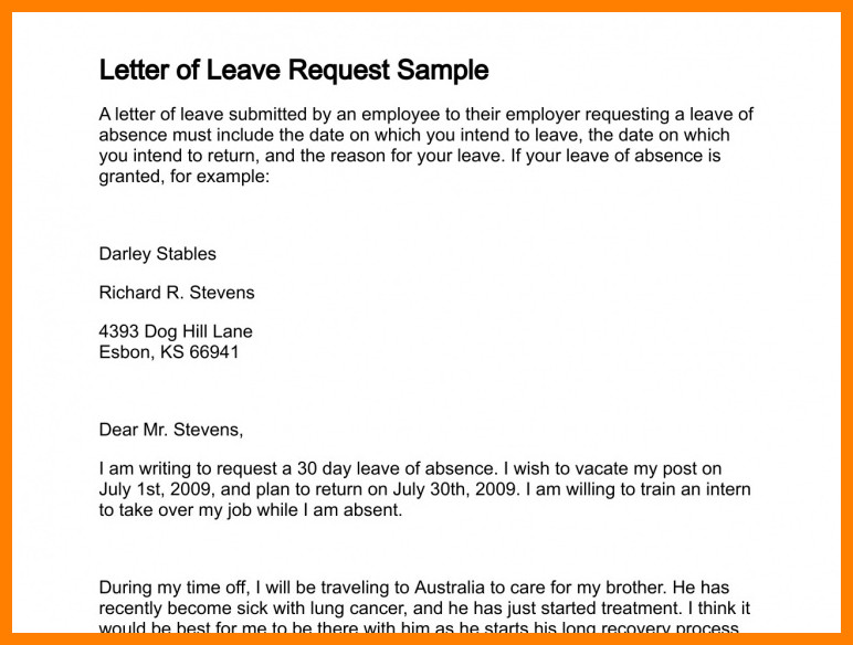Vacation Leave Letter Sample Leave Request Email Sample