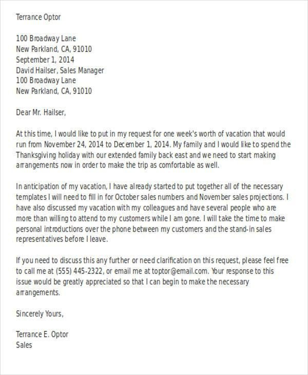 Vacation Leave Letter Sample Leave Request Email to Manager for Vacation