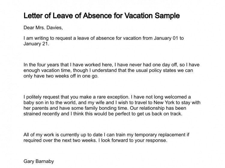 Vacation Leave Letter Sample Letter Of Request for Vacation Leave Sample & Templates