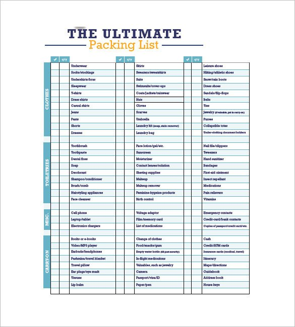 Vacation Packing List Template Packing List Template 10 Free Word Excel Pdf format