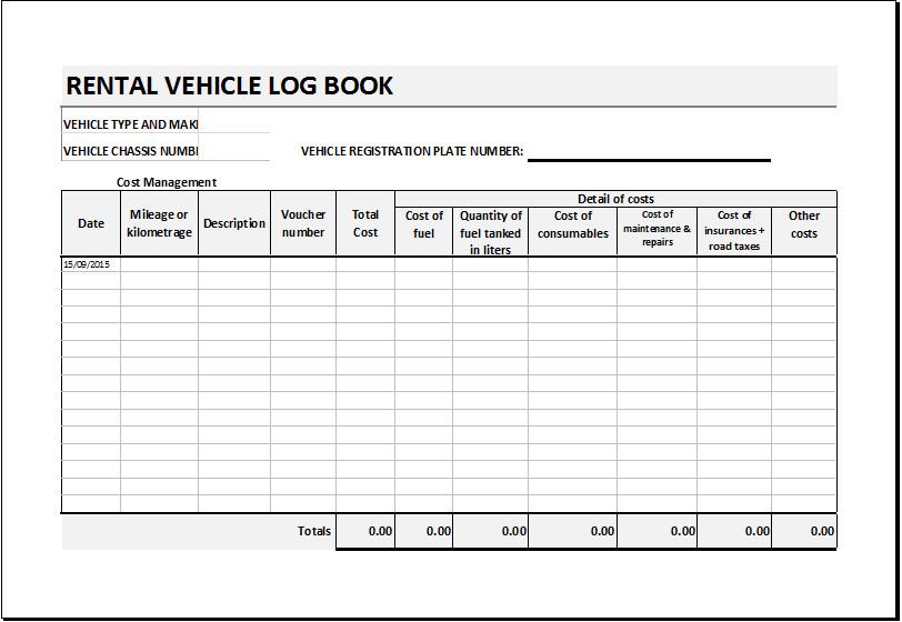 Vehicle Maintenance Log Excel Rental Vehicle Log Book Template for Excel