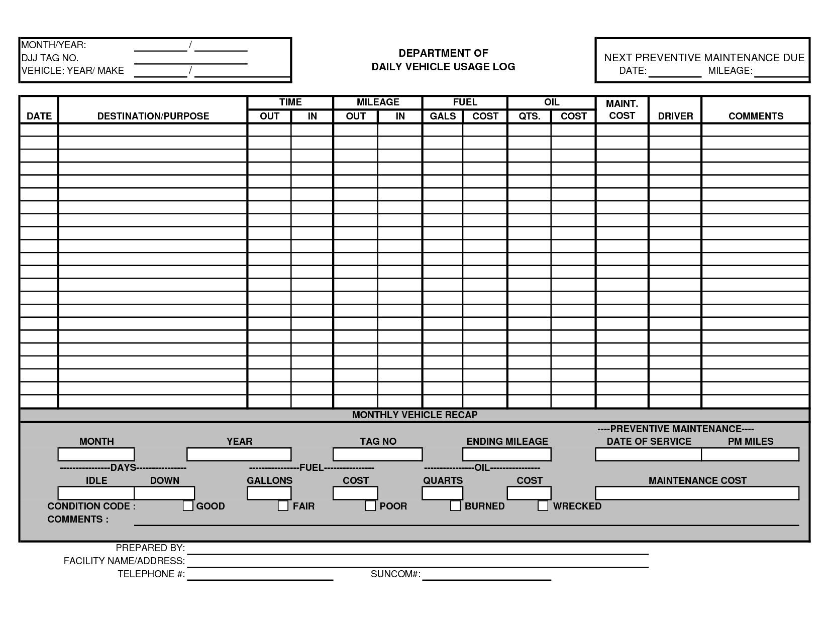 Vehicle Maintenance Log Excel Vehicle Maintenance Log Template Excel Ewolf
