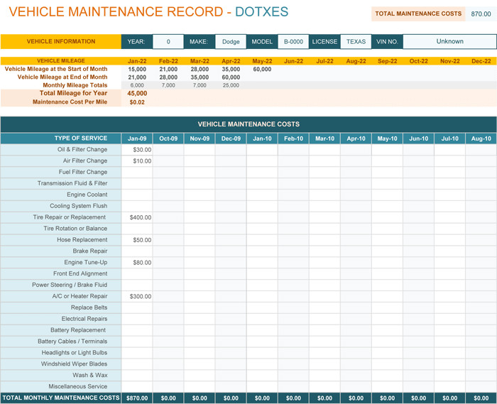 Vehicle Maintenance Log Excel Vehicle Maintenance Log Template for Excel Monthly Dotxes