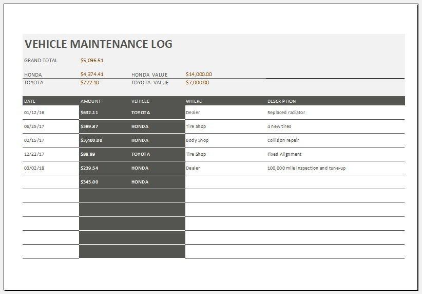 Vehicle Maintenance Log Excel Vehicle Maintenance Log Template