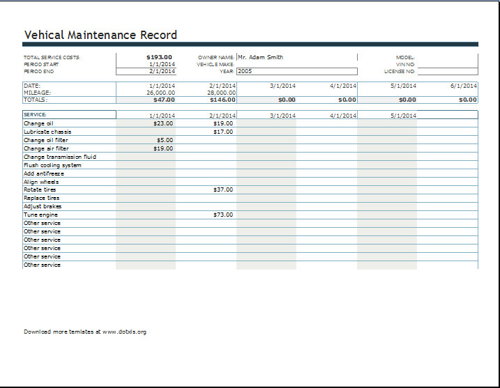 Vehicle Maintenance Log Excel Vehicle Maintenance or Service Record Log