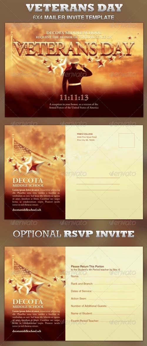 Veterans Day Program Template Graphicriver Veterans Day Mailer Invite Template