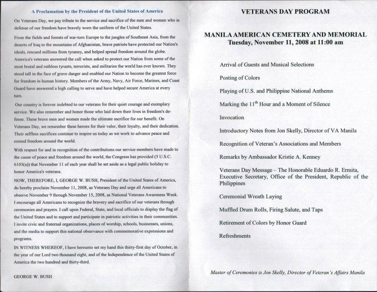 Veterans Day Program Template May 3 Anniversary Tucker Maywood Bataan Day organization