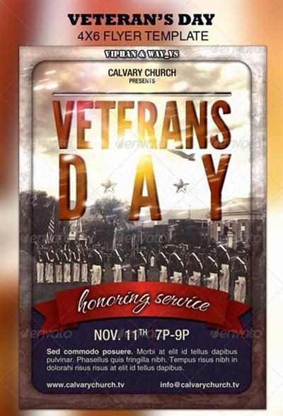 Veterans Day Program Template Psd Template Veterans Day Church Flyer