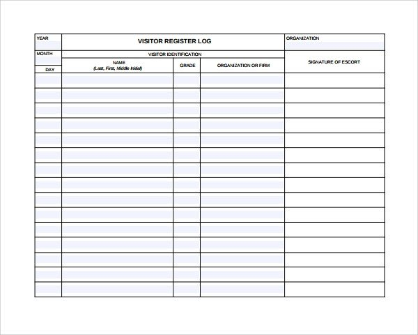 Visitor Log Template Excel 9 Visitors Log Templates Pdf Word