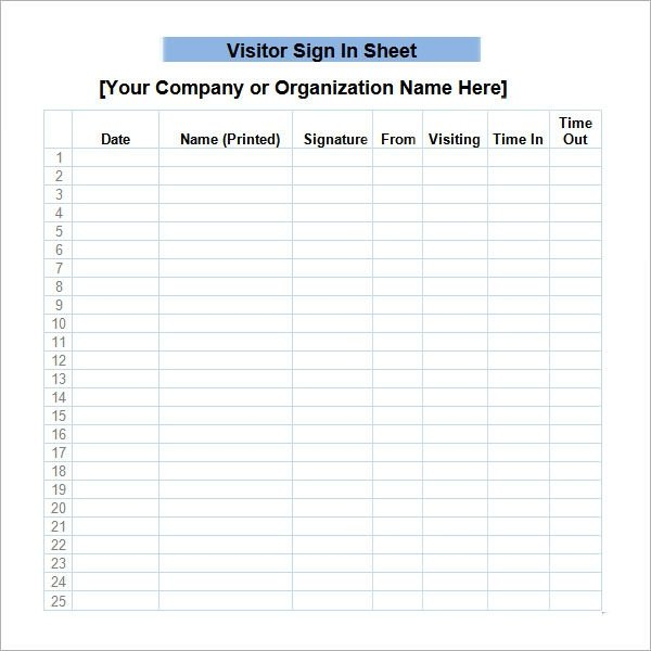 Visitor Sign In Sheet 34 Sample Sign In Sheet Templates Pdf Word Apple Pages