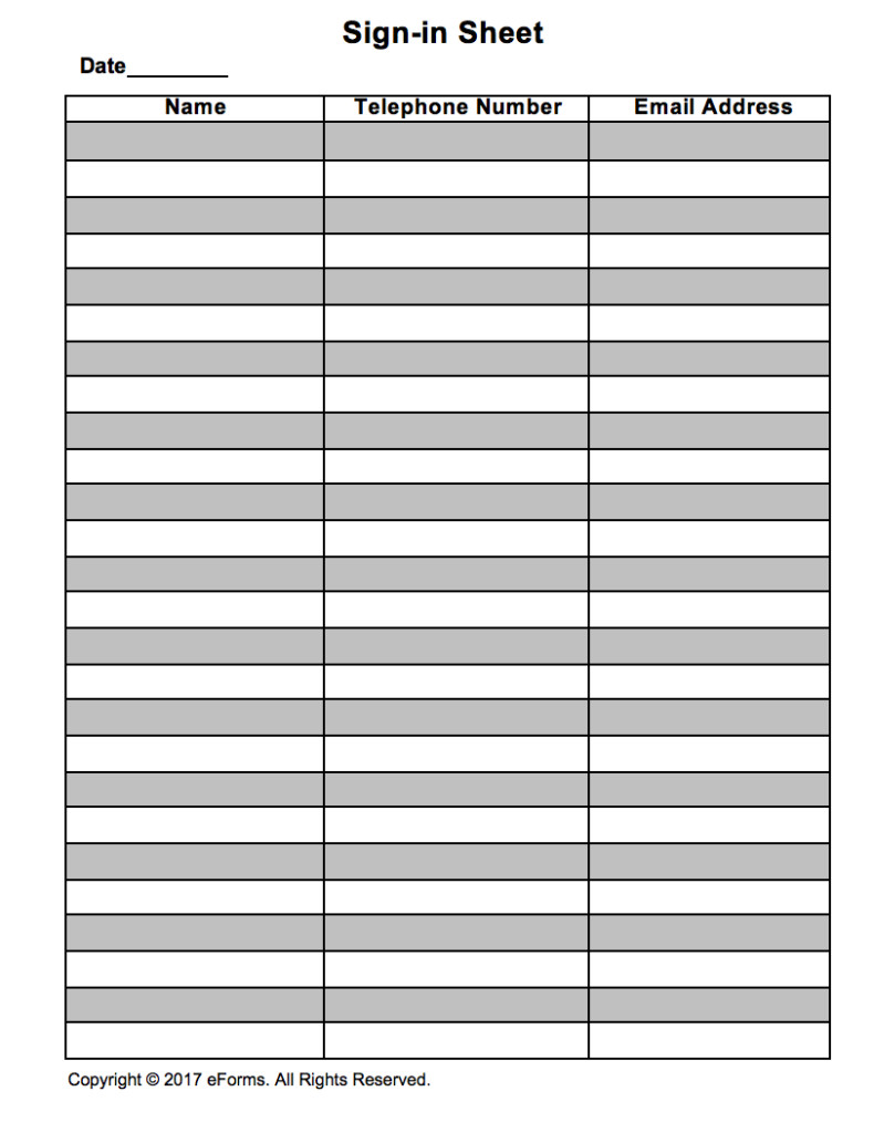 Visitor Sign In Sheet attendance Guest Sign In Sheet Template