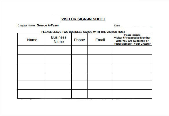 Visitor Sign In Sheet Sample Visitor Sign In Sheet 10 Documents In Word Pdf