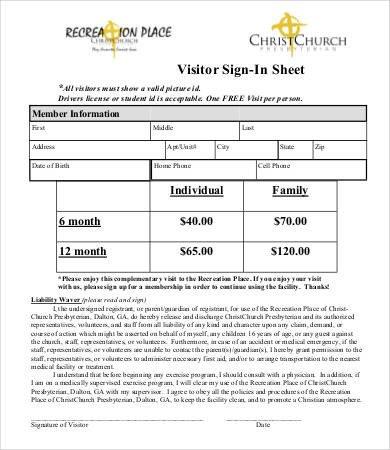 Visitor Sign In Sheet Visitor Sign In Sheet Template 13 Free Word Pdf