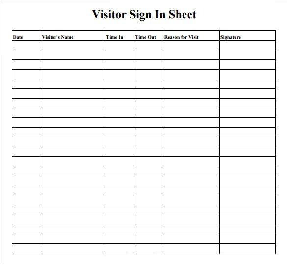 Sample Visitor Sign in Sheet 10 Documents in Word PDF