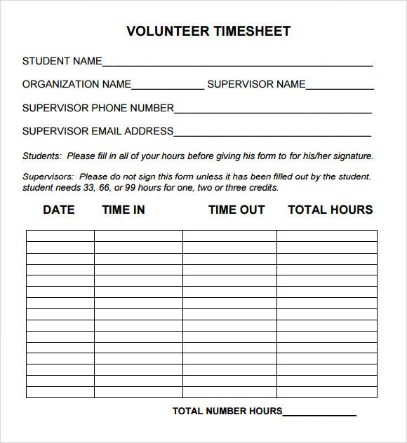 Sample Volunteer Timesheet 10 Example Format