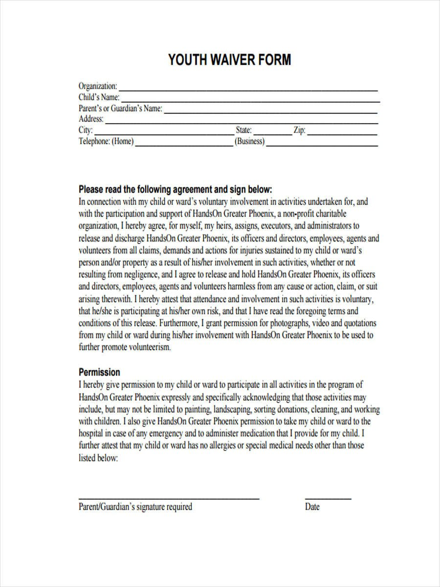 8 Sports Waiver Form Samples Free Sample Example