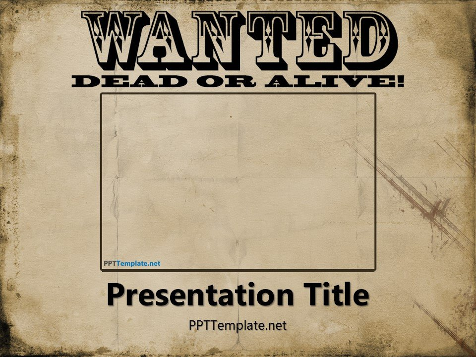 Wanted Poster Template Free Free Wanted Poster Template for Powerpoint