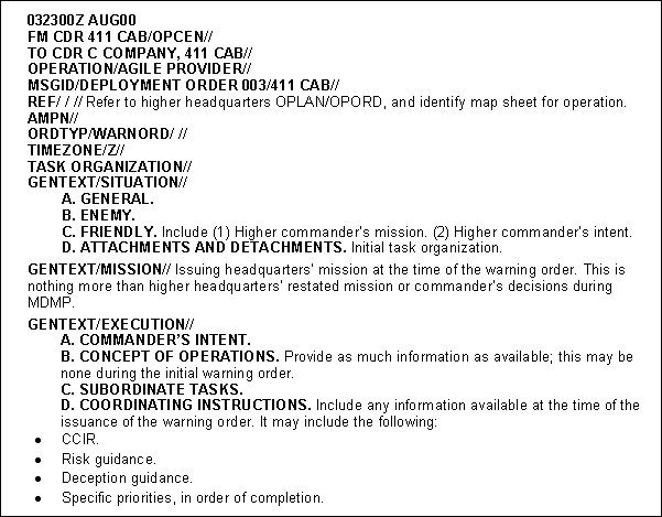 Warning order Template Usmc Fm 3 05 401 Appendix C Products Of Ca Cmo Planning and