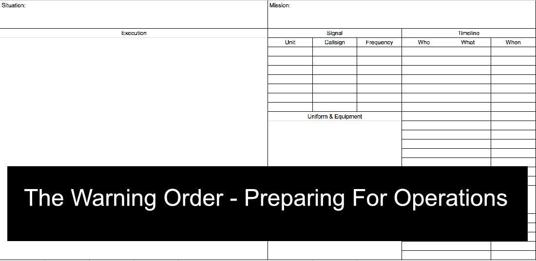 Warning order Template Usmc Fourth Gen Tactical Understanding the World Of Modern