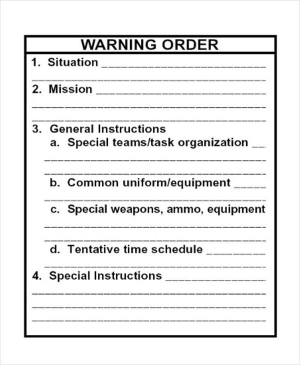 Warning Order Templates
