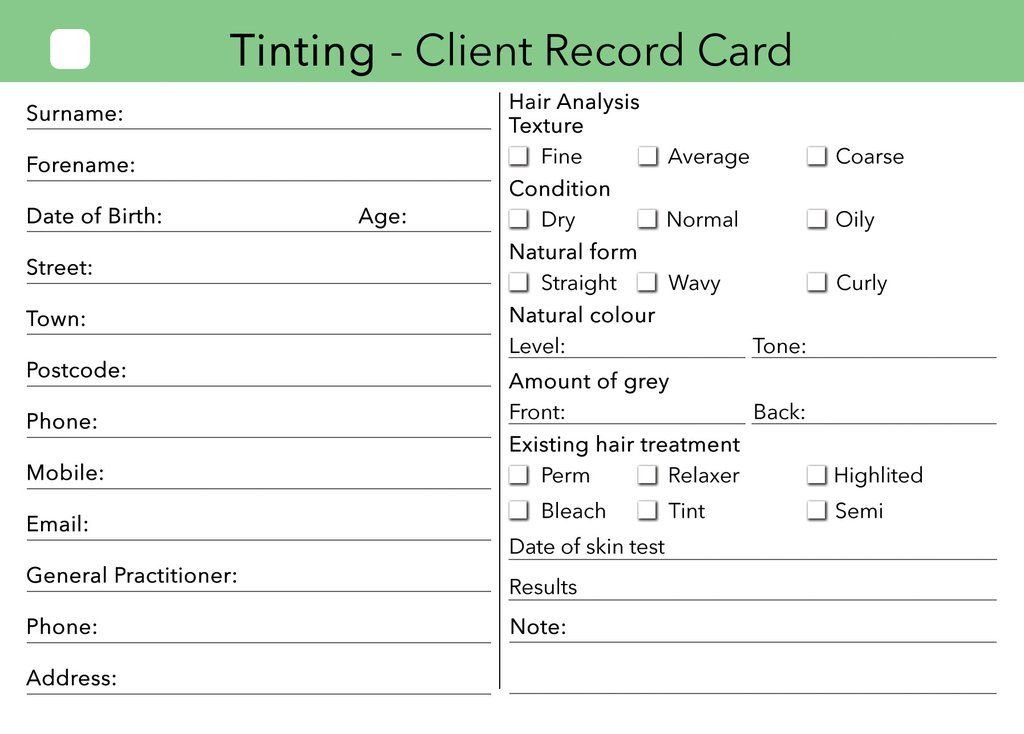 Waxing Consultation form Template Beauty Client Card Treatment Consultation Card In 2019